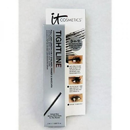 It Cosmetics Tightline  Full Lash Length 3 In 1 Eyeliner  Mascara  And Primer Black 0 067Oz 2Ml Travel Size