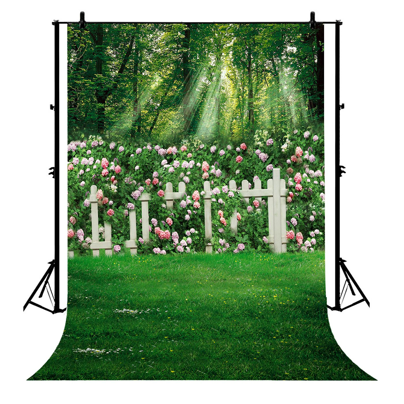 GCKG 7x5ft Spring Family Garden Pink Flowers Wedding Polyester Photography Backdrop Photo Background Studio Props - image 4 de 4