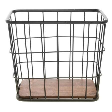 Metal Basket with Wooden Bottom Black - 16