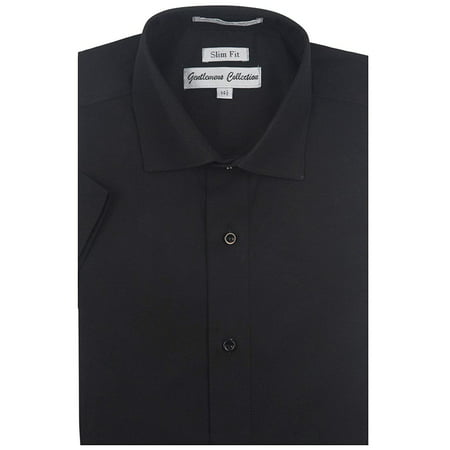 Gentlemens Collection Mens 1904S Short Sleeve Slim Fit Easy Care Dress Shirt - Black -15 ()