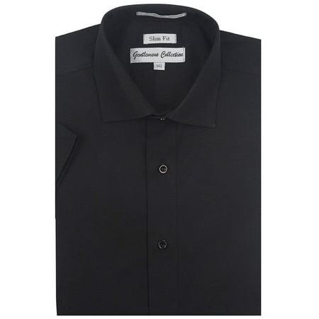 Gentlemens Collection Mens 1904S Short Sleeve Slim Fit Easy Care Dress Shirt - Black - Black Dress Shirt Top