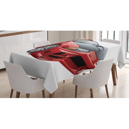 Cars Tablecloth, Customized Red Dragster Automobile in Graphic Style Speed Fast Vehicle Powerful, Rectangular Table Cover for Dining Room Kitchen, 60 X 84 Inches, Red Black White, by Ambesonne - Customized Tablecloth