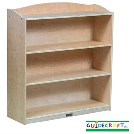 Guidecraft Kids Bookshelf, 3-Tier with Adjustable Shelves, Natural Birch