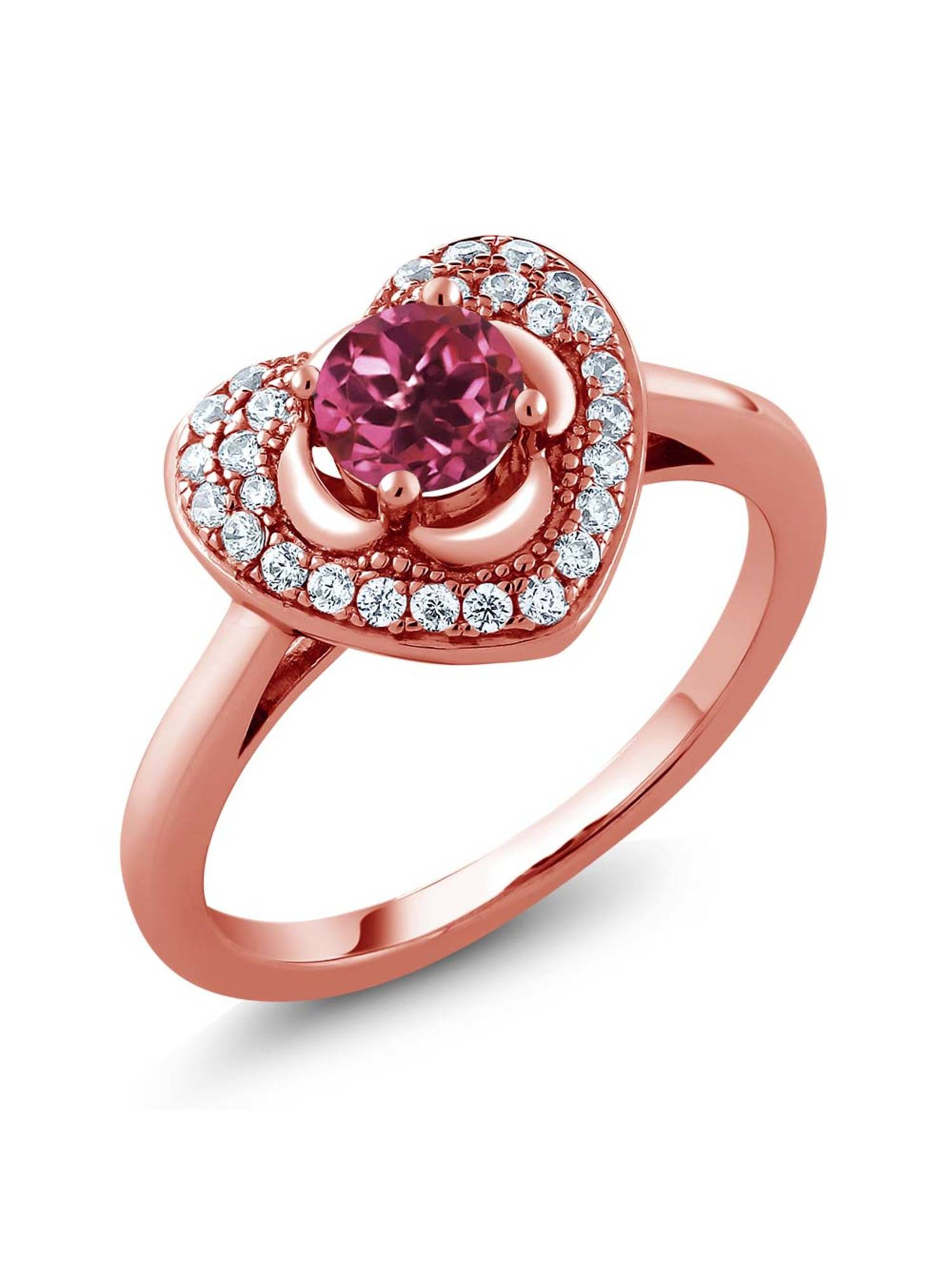 0.77 Ct Round Pink Tourmaline AAA 18K Rose Gold Plated Silver Heart Ring by