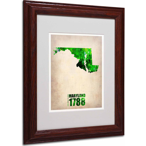 """Trademark Fine Art """"Maryland Watercolor Map"""" Matted Framed Art by Naxart, Wood Frame"""