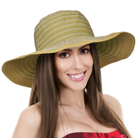 ebb12c7084457d Solaris - Women Floppy Sun Beach Hats w/ Wide Brim Straw Edge Summer UV  Protection Foldable Gardening Hiking Cap - Walmart.com