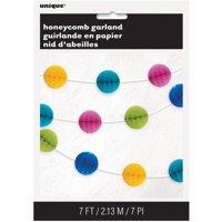 Tissue Paper Honeycomb Ball Garland, 7 ft, Bright Multicolor, 1ct