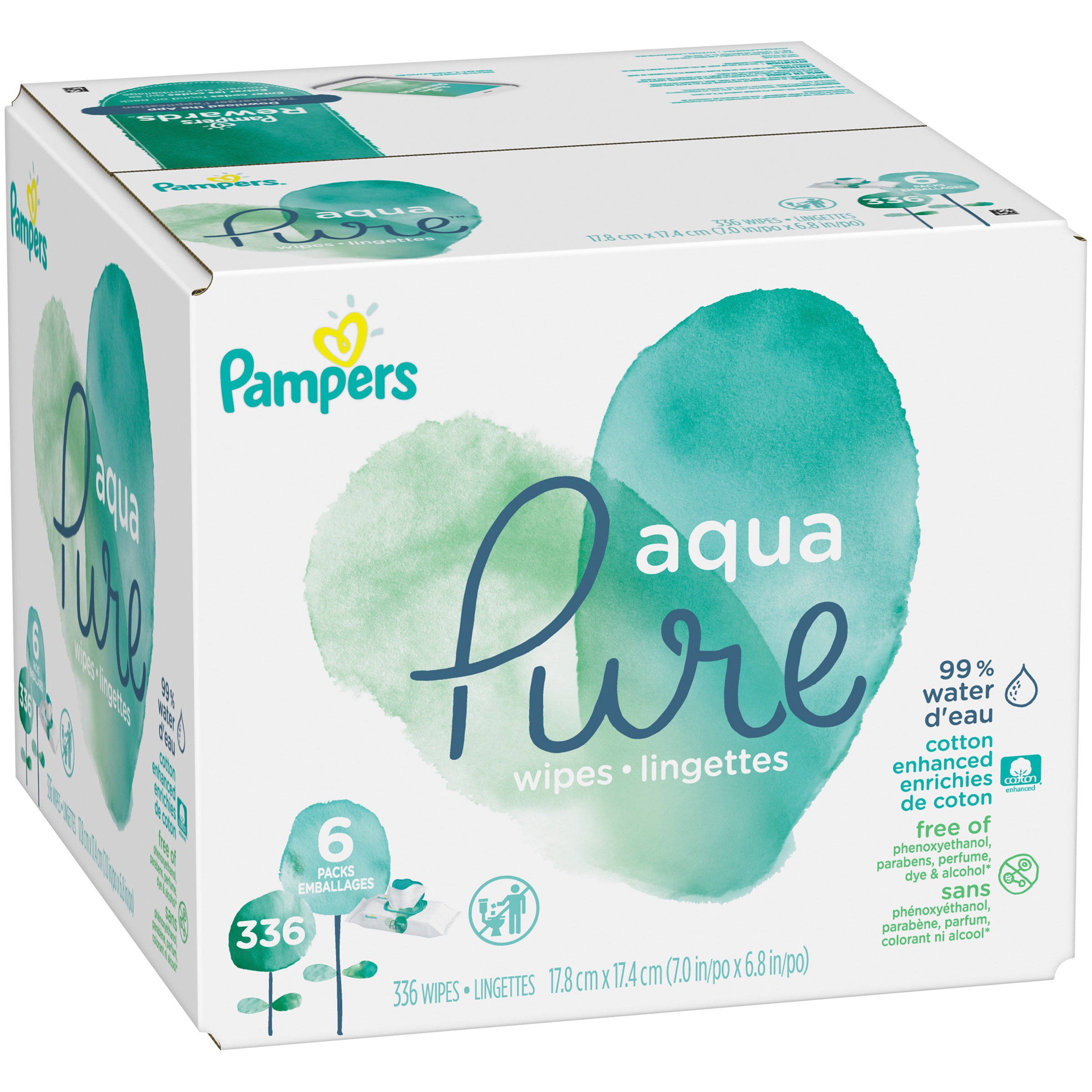 Pampers Aqua Pure Sensitive Baby Wipes Pop-Top, 336 Count, Pack of 6