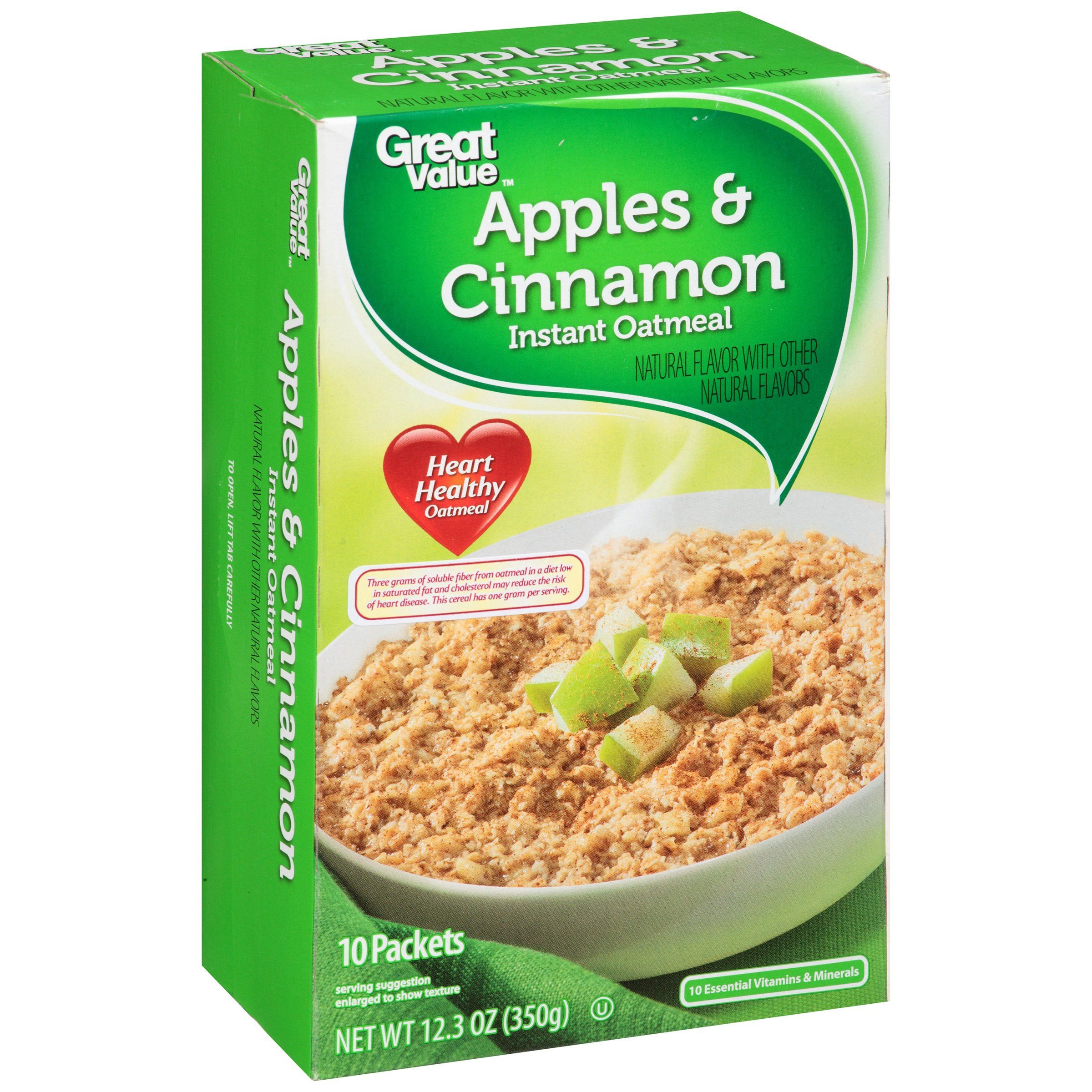 Great Value Apples & Cinnamon Instant Oatmeal, 12.3 Oz - Walmart.com