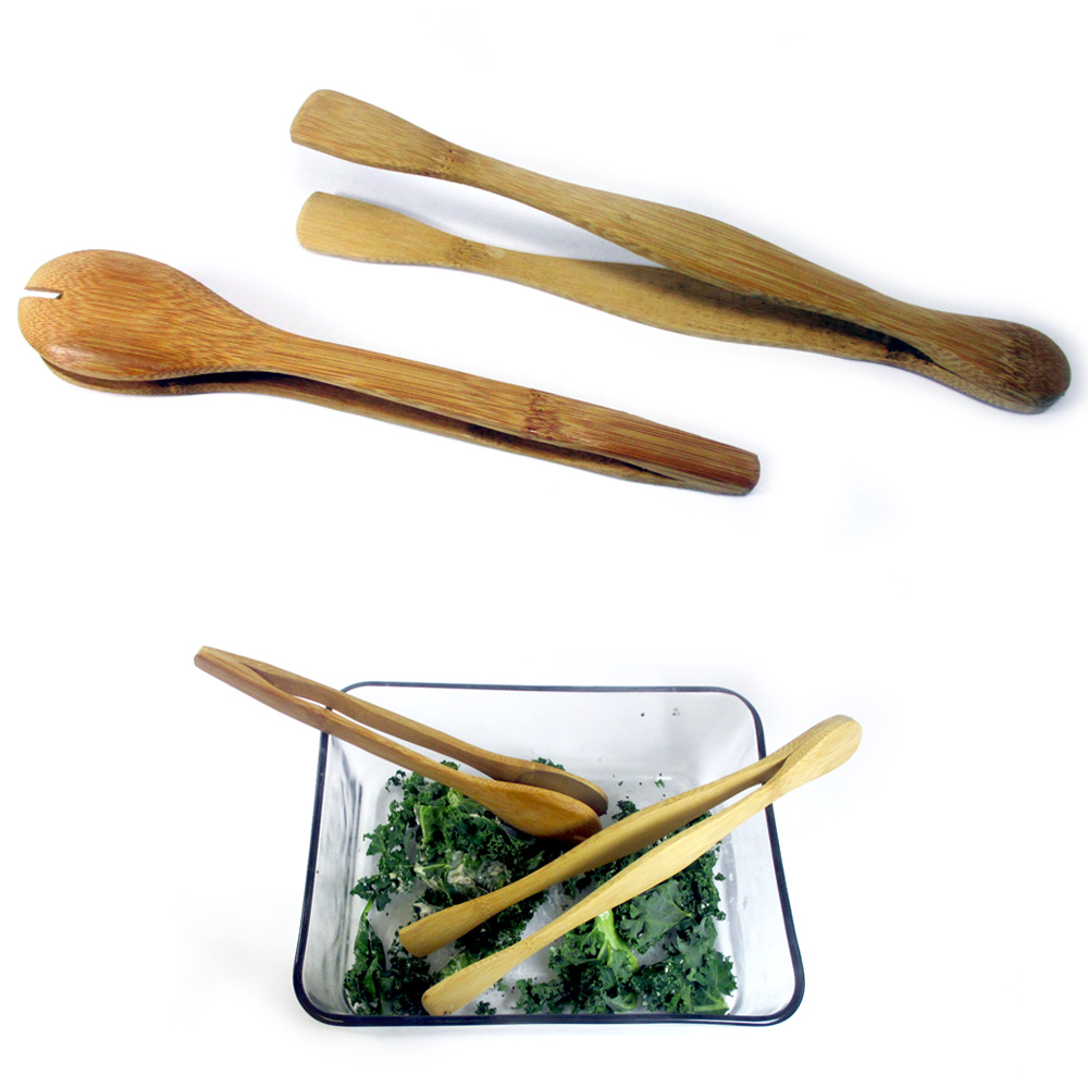 2 Bamboo Tongs Serving Set Salad Toast Kitchen Lightweight Utensil Wooden Tools