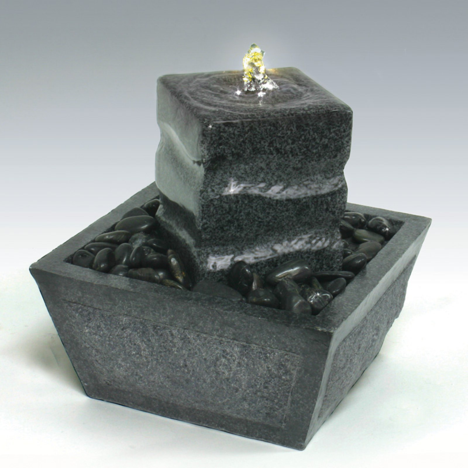Algreen Illuminated Relaxation Outdoor Fountain with Granite Pillar and Natural Stones - Gray