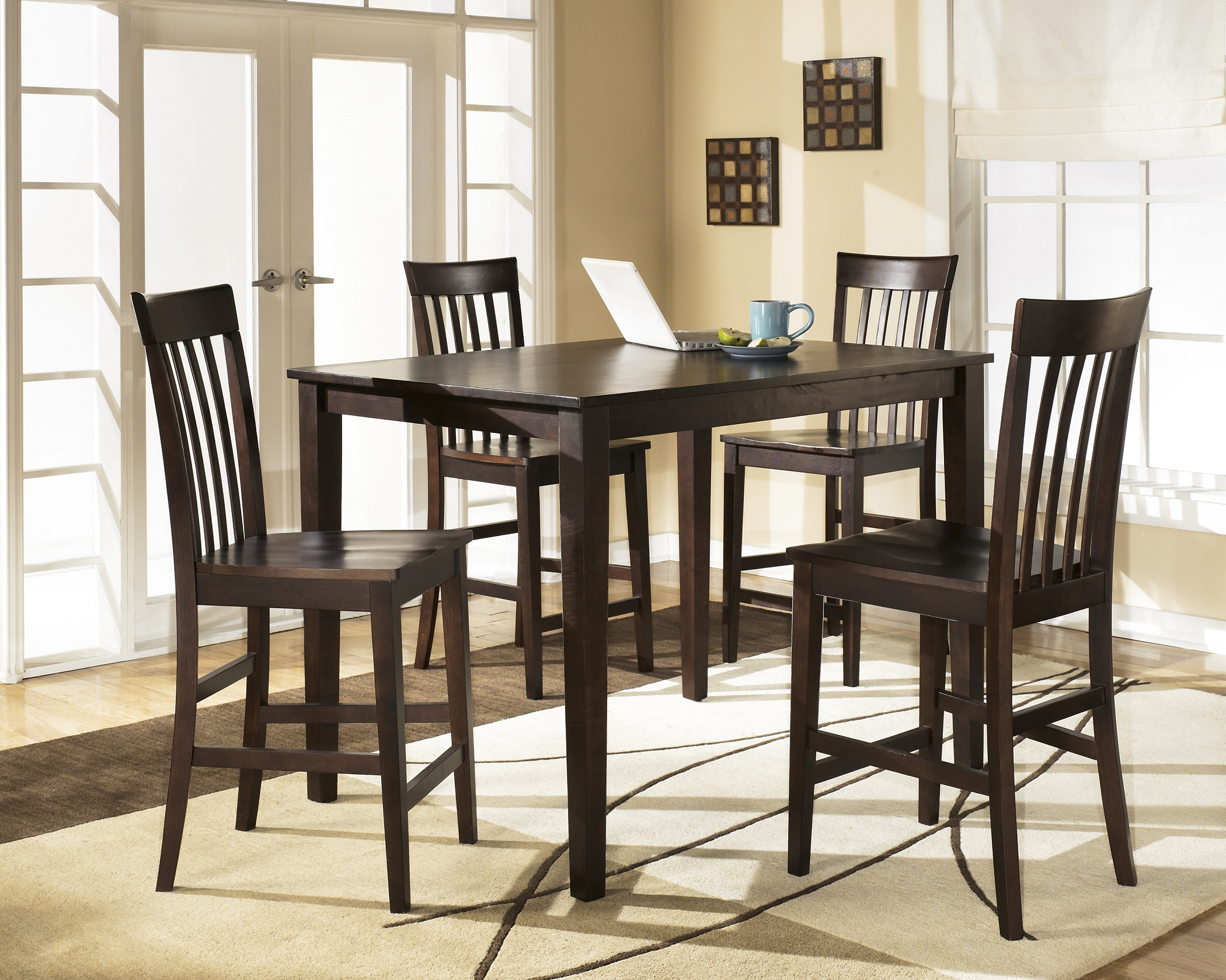 Hyland D258-223 5-Piece Dining Room Set with 1 Counter Height Table and 4 Bar Stools in Reddish Brown by Ashley Furniture
