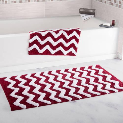 100% Cotton 2-Piece Chevron Bathroom Mat Set by Somerset Home - White
