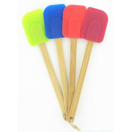 Farberware Set of 4 Wood Handle Multi-Color Silicone Spatula ()