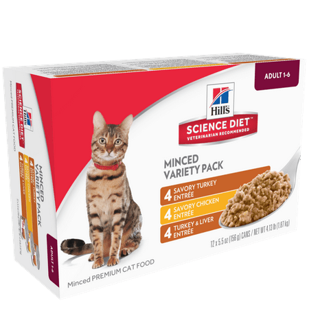 Hill's Science Diet (Get $5 back for every $20 spent) Adult Savory Entree Variety Pack Canned Cat Food, 5.5oz, 12-pack