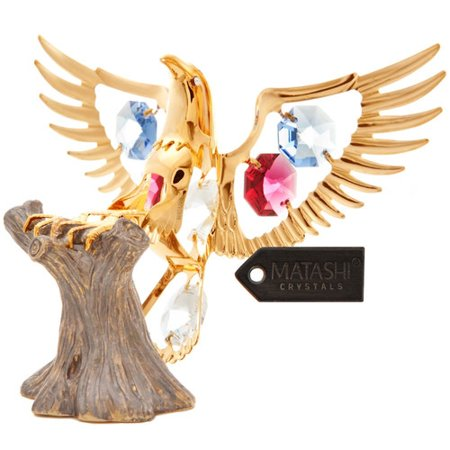 24K Gold Plated Fourth of July Eagle On A Tree Stump with Red  Blue and Clear-Cut Crystals - Fourth Of July Plates