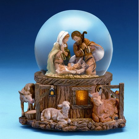 Fontanini Stable Holy Family Scene Musical Light Up Christmas Water Globe