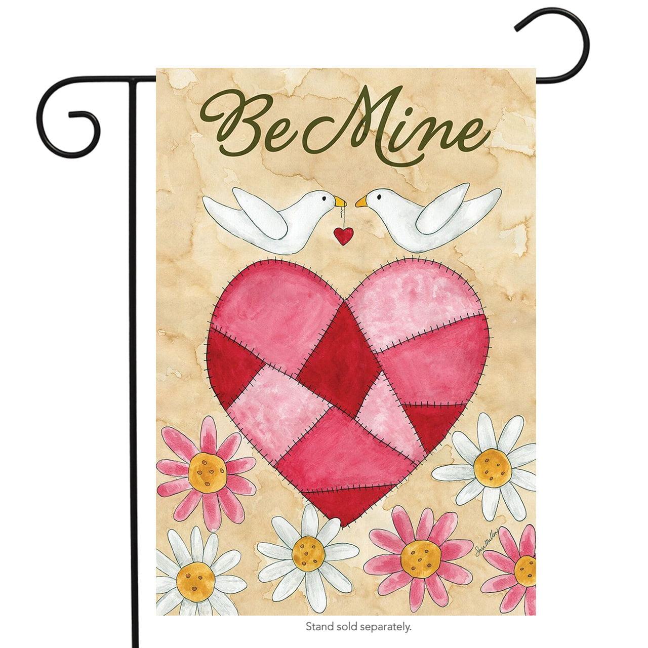"""Be Mine Love Birds Valentine's Day Garden Flag Briarwood Lane 12.5"""" x 18"""""""