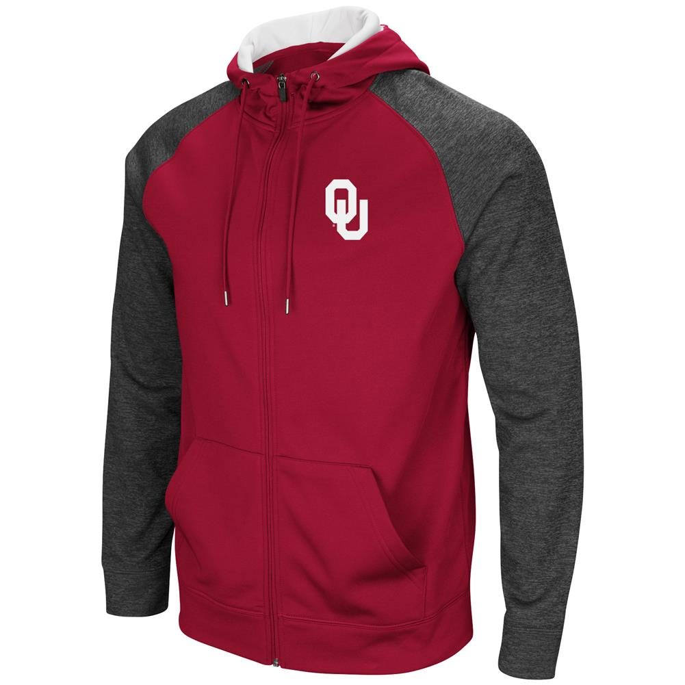 University of Oklahoma Sooners Men's Full ZipHoodie Fleece Jacket by Colosseum