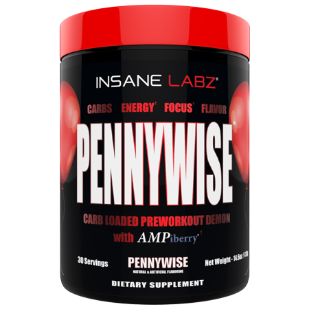 Insane Labz Pennywise Mass Gaining High Stimulant Pre Workout Powder, Energy Focus Strength Pumps, Loaded with Creatine 10g of Carbs Infinergy Caffeine fueled by AMPiberry, 30 Servings -