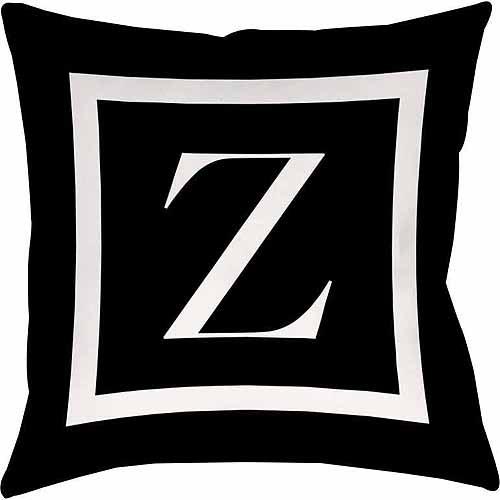 IDG Classic Block Monogram Decorative Pillow - Black
