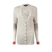 Jones New York Women's Space-Knit Colorblocked Cardigan (XS, Barley Multi)