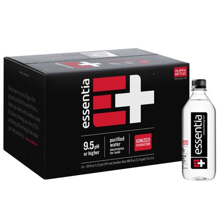 - Essentia Water; 20-oz. Bottles; Case of 24; Ionized Alkaline Bottled Water; Electrolyte Infused for Smooth Taste; pH 9.5 or Higher; 99.9-Percent Pure, Overachieving H2O for the Doers and Believers