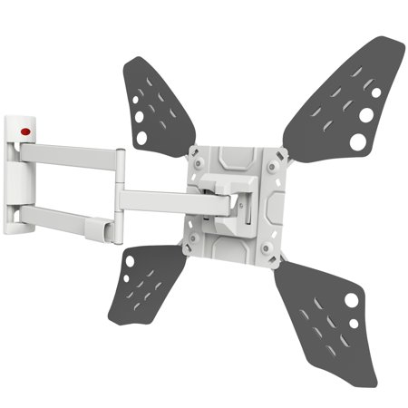 "Barkan 40""- 70"" Full Motion - 4 Movements, Flat / Curved TV Wall Mount, Extremely Extendable, Dual-Arm, White, Up to 88 lbs, Lifetime Warranty"