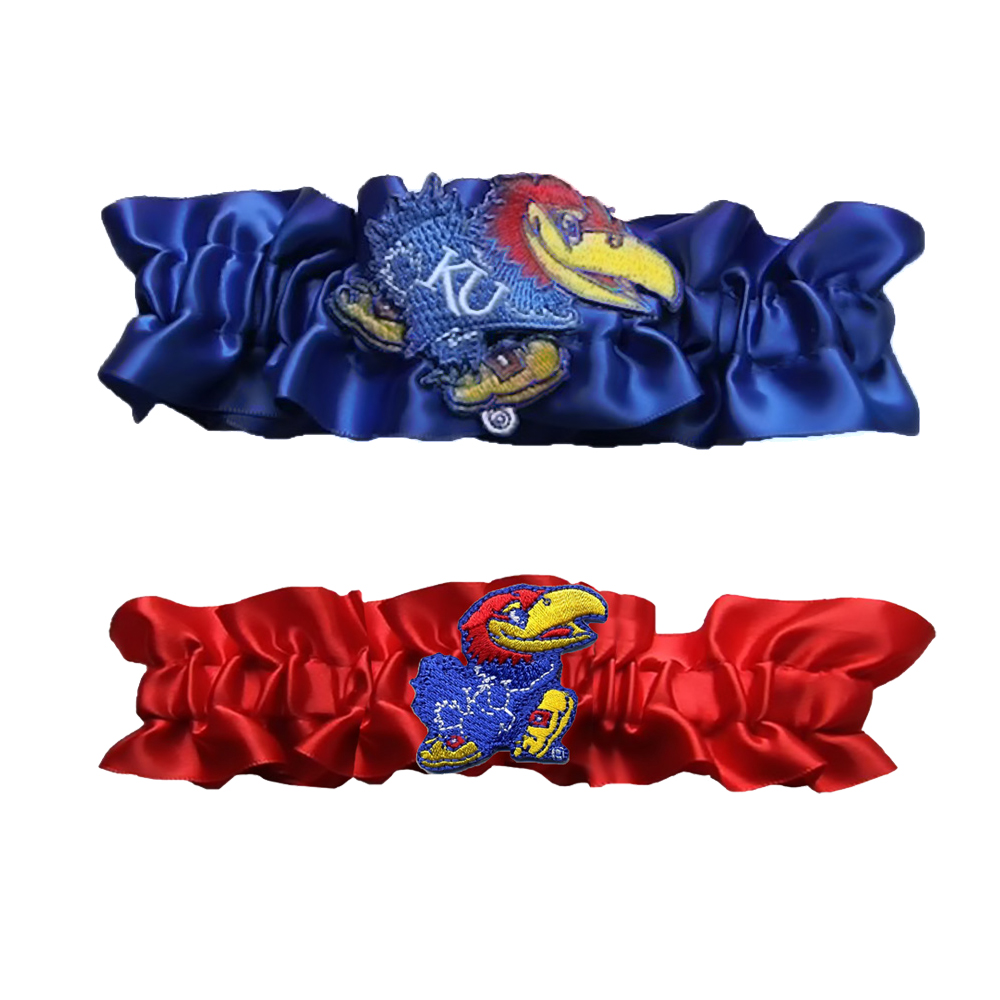 Divine Creations DVC-G721-KAN-RBRD Kansas Jayhawks Ncaa Garter Set One To Keep One To Throw [royal Blue/red]