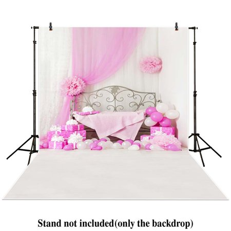 GreenDecor Polyster 5x7ft Photography backdrops background Pink balloons gifts chair princess girl photo baby shower newborn studio