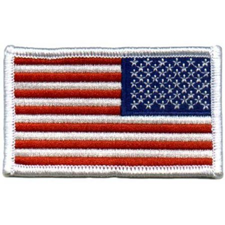 American US Flag REVERSED Patch White Border [Misc.] by Army (Misc Patches)