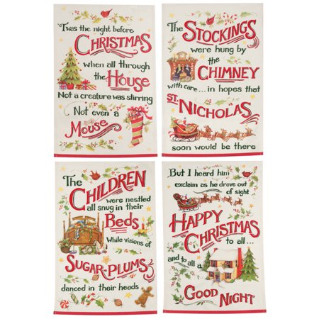 twas the night before christmas holiday story kitchen tea towels set of 4 cotton