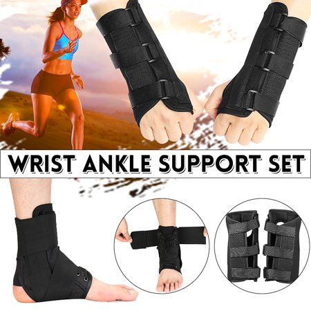 8.3''x7.9'' 1Pair Right & Left Medical Carpal Tunnel Wrist Brace Support Splint Arthritis Sprain Hand Protector 3 Straps Adjustable Removable ()