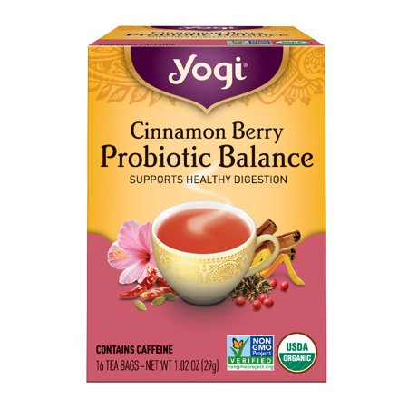 (6 Boxes) Yogi Tea, Cinnamon Berry Probiotic Balance Tea, Tea Bags, 16 Ct, 1.02