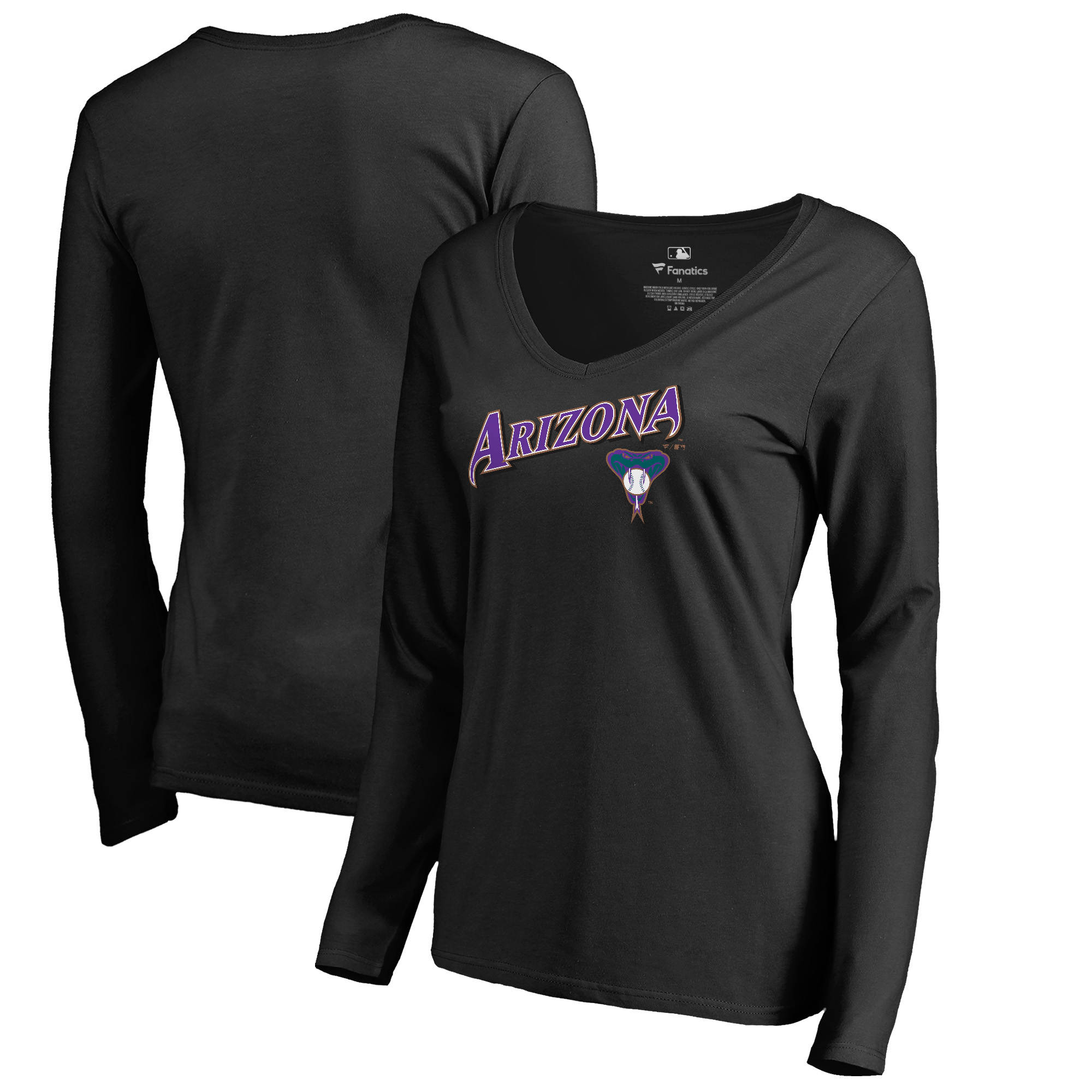 Arizona Diamondbacks Fanatics Branded Women's Cooperstown Collection Wahconah Long Sleeve V-Neck T-Shirt - Black