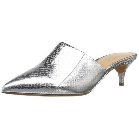 Franco Sarto Womens L Doxie Almond Toe Casual Slide Sandals, Silver, Size