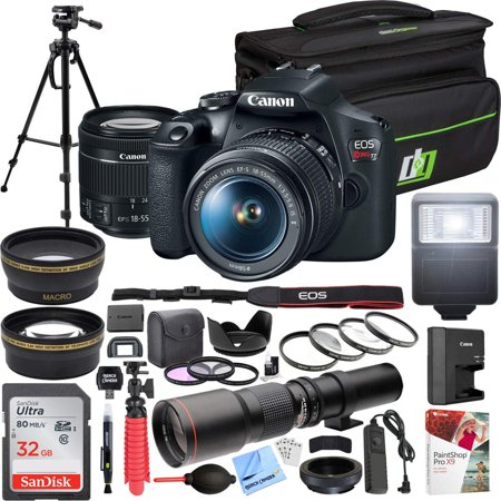 Canon EOS Rebel T7 Digital SLR Camera 18-55mm f/3.5-5.6 IS II Kit Bundle with 500mm Preset Telephoto Lens, 32GB Memory Card, Camera Bag, Paintshop Pro 2018 and Accessories (13 Items) Eos Digital Rebel Xt Slr Camera