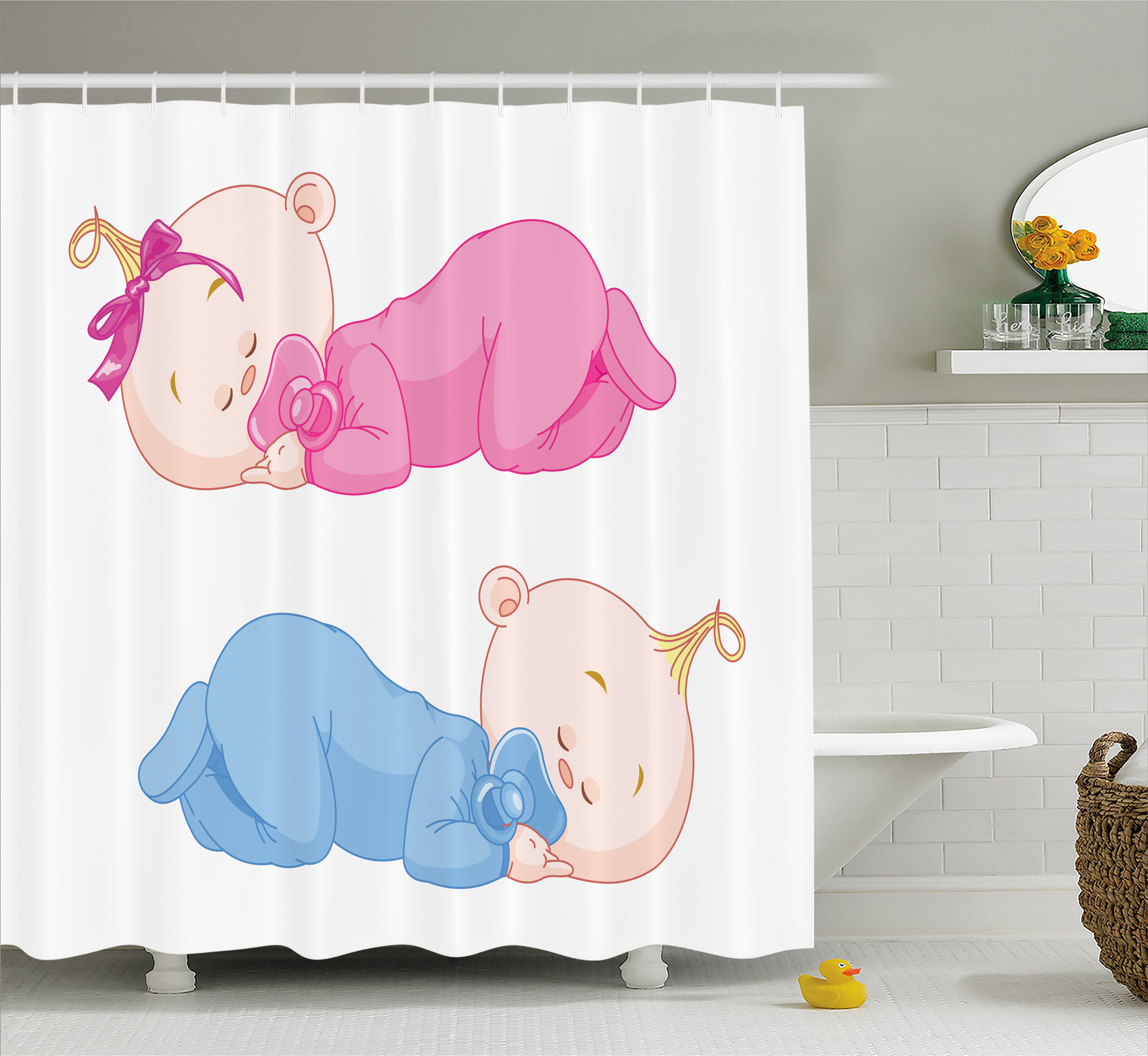 Baby Shower Curtain, Two Charming Little Twin Siblings -9782