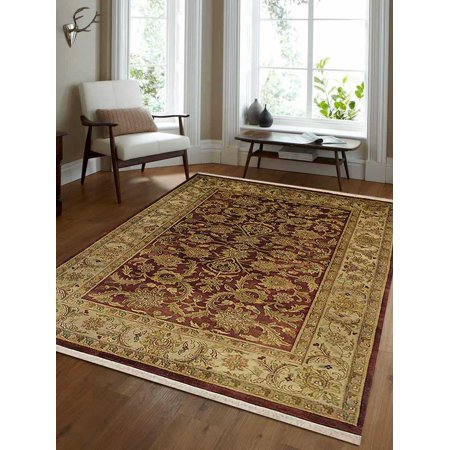 - Rugsotic Carpets Hand Knotted Persian Wool 5'7''x7'10'' Oriental Area Rug Kashan Rust Cream PR0023