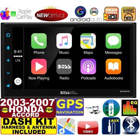 2003-07 HONDA ACCORD APPLE CARPLAY NAVIGATION (works with IPHONE) AM/FM USB/BLUETOOTH CAR RADIO STEREO PKG. INCL. VEHICLE HARDWARE: DASH KIT, WIRE HARNESS, AND ANTENNA ADAPTER WHEN REQIRED.