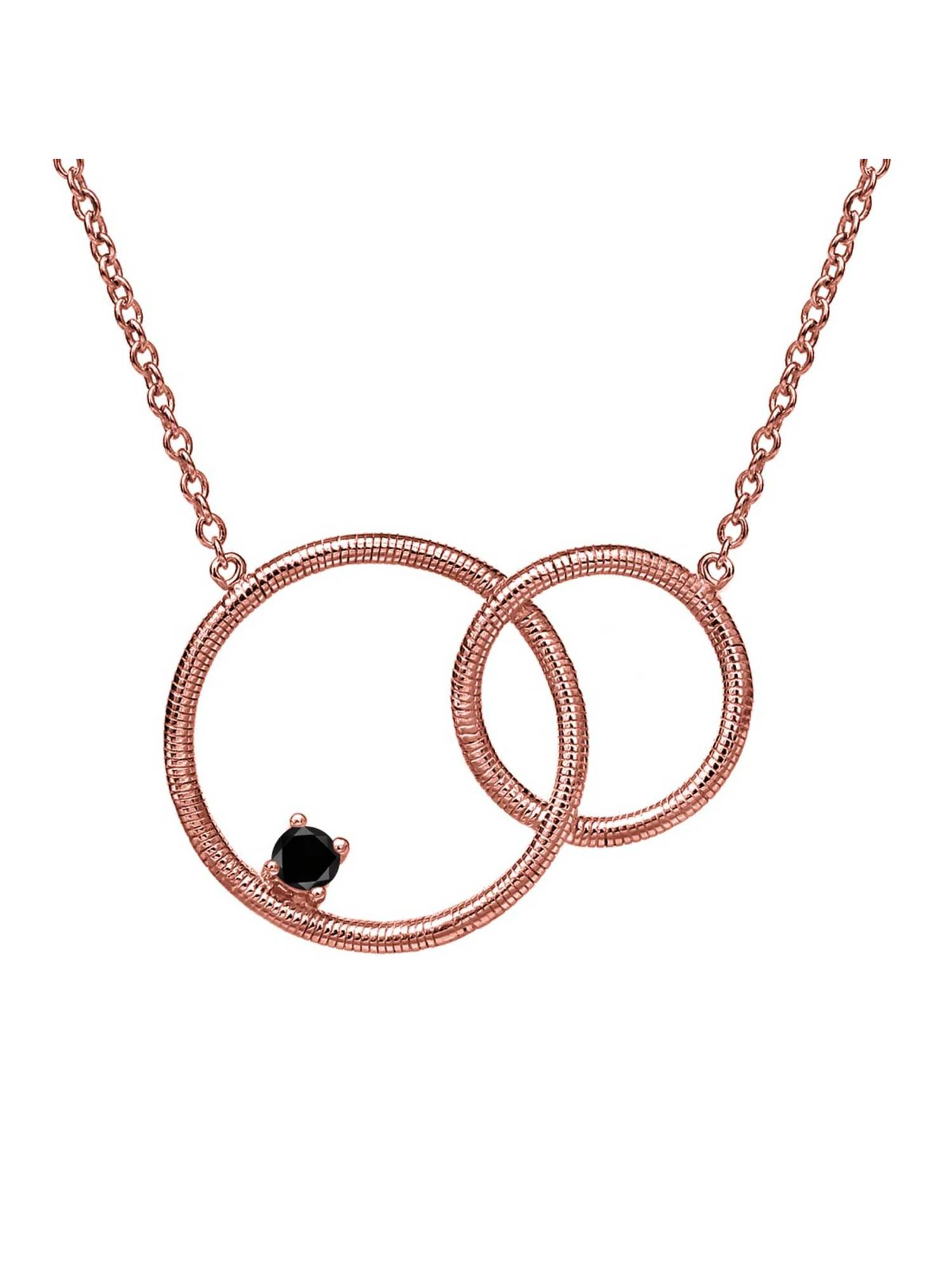 0.12 Ct Round Black Diamond 18K Rose Gold Plated Silver Necklace