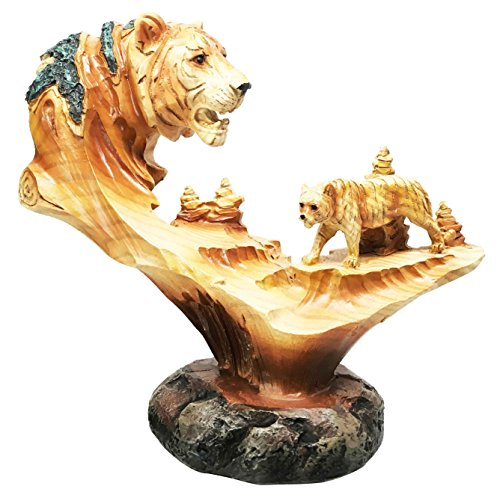 Rustic Faux Wood Finish Resin Predator Bengal Tiger Wildlife Scene Figurine Sculpture