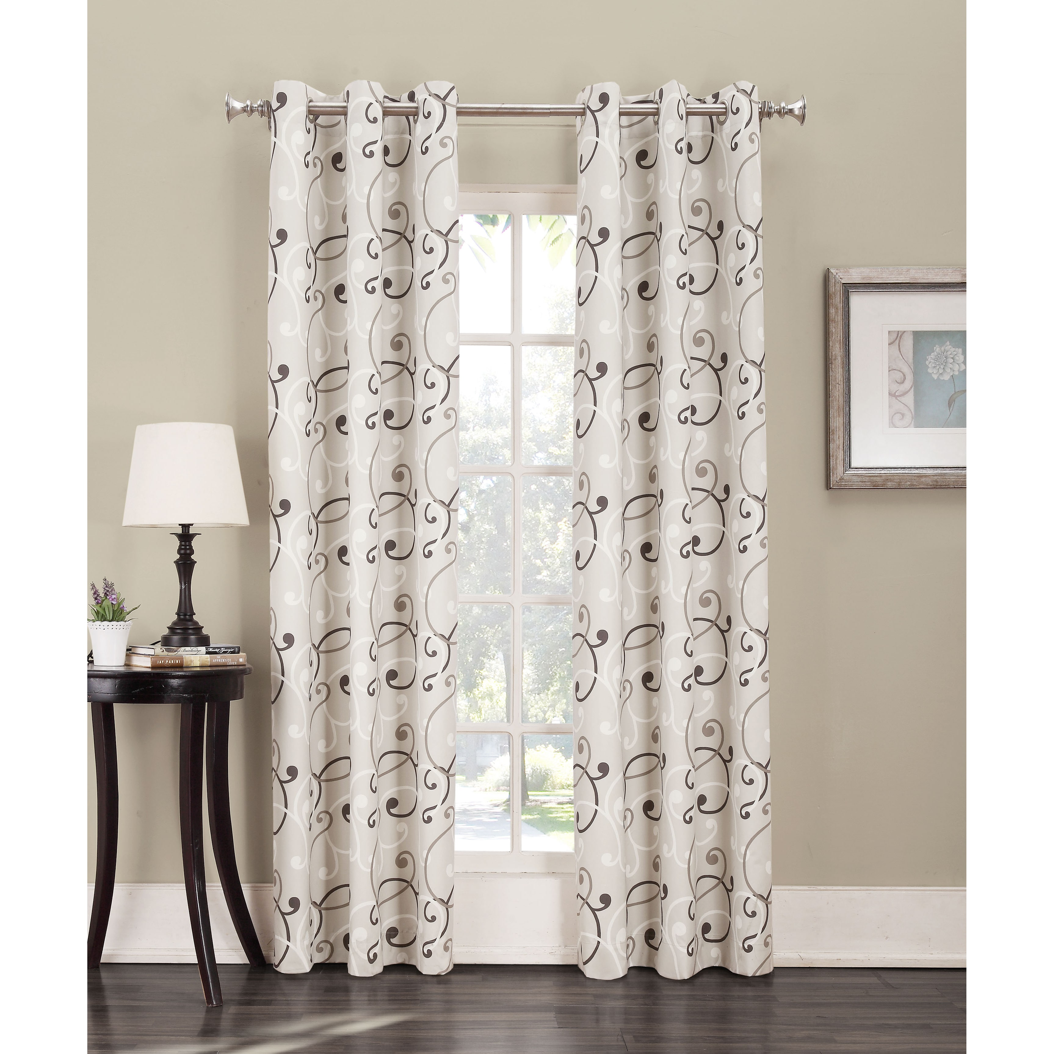 Sun Zero Belinda Scroll Print Thermal Insulated Energy Efficient Grommet Curtain Panel by S. Lichtenberg & Co.