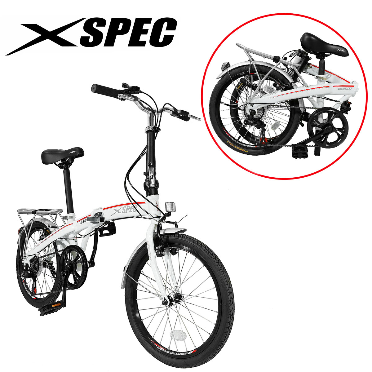 "Xspec 20"" 7 Speed City Folding Mini Compact Bike Bicycle Urban Commuter Shimano White"