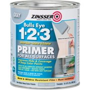 Zinsser Bulls Eye 1-2-3 Primer for All Surfaces, Gray, 1 Quart