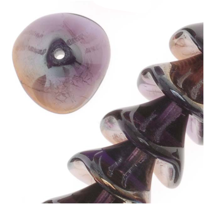Czech Glass Beads Three Petal Flower 12mm Tanzanite Celsian (12)