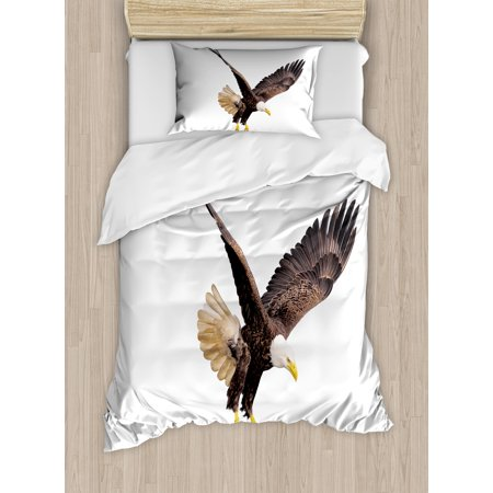 Eagle Twin Size Duvet Cover Set, Image of a Hunter Flying Looking for Prey Predator Scenes from Nature, Decorative 2 Piece Bedding Set with 1 Pillow Sham, Cream Dark Brown Yellow, by Ambesonne