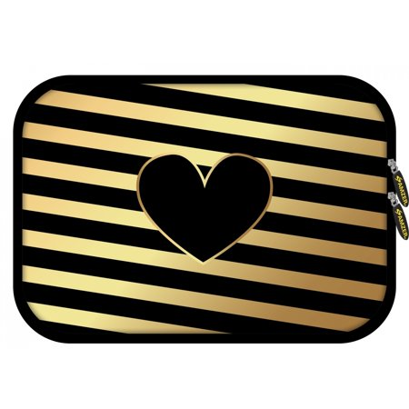 8.5 Inch High Quality Zippered Designer Neoprene Sleeve for Tablet, iPad, Boogie Board, Fire HD 8, eReaders with 5 Pcs Screen Cleaning Kit and Headset Organizer - Diagonal Heart Lines