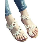 Women Flat Sandals Gladiator Summer Boho Toe Ring Casual Beach Shoes