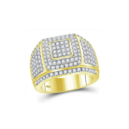 FB Jewels 14kt Yellow Gold Mens Round Diamond Cushion Cluster Ring 2-1/2 Cttw